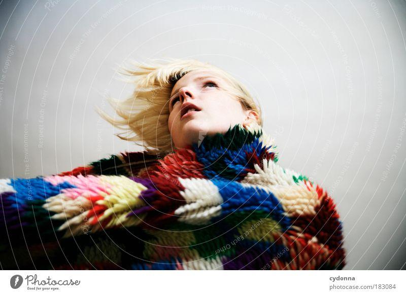 New Frau Jugendliche schön Gesicht Leben Stil Bewegung Freiheit Haare & Frisuren träumen Traurigkeit Religion & Glaube Mode Erwachsene Design