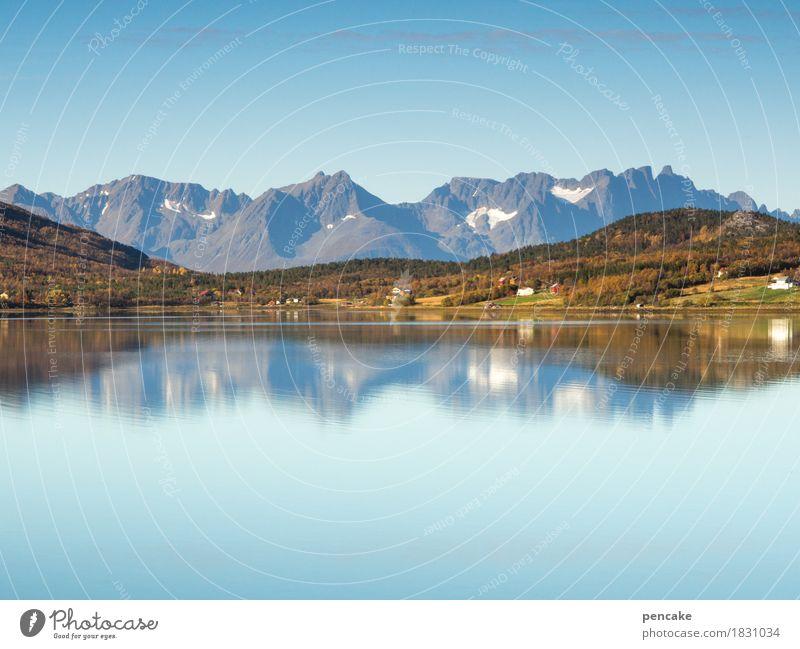 wo die berge ins meer fallen Natur Landschaft Urelemente Wasser Himmel Herbst Schönes Wetter Berge u. Gebirge Fjord Lebensfreude frei Norwegen Norwegenurlaub