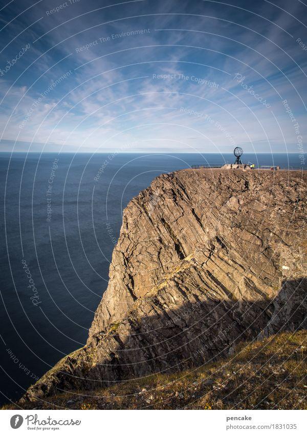 900   sie haben ihr ziel erreicht Himmel Natur Wasser Meer Landschaft Ferne Herbst Küste Felsen Schilder & Markierungen Schönes Wetter Zeichen historisch