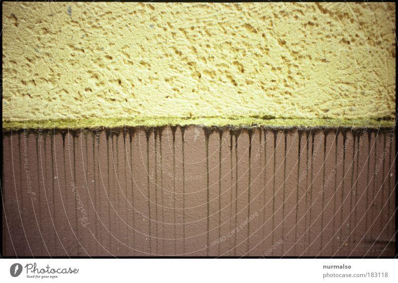 Übergangszone Wasser Haus gelb Umwelt Bewegung Stein Linie Regen Kunst braun Fassade laufen Wassertropfen Baustelle einfach Unendlichkeit