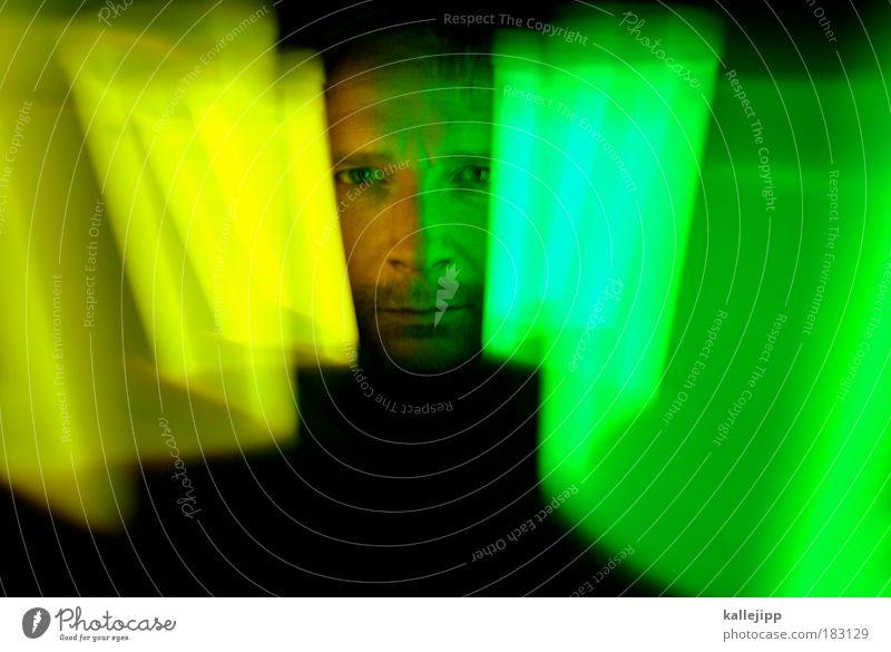 blickfeld Mensch Mann grün Gesicht Erwachsene Auge gelb Kopf Party Stil träumen Kunst Freizeit & Hobby Informationstechnologie Mund Design