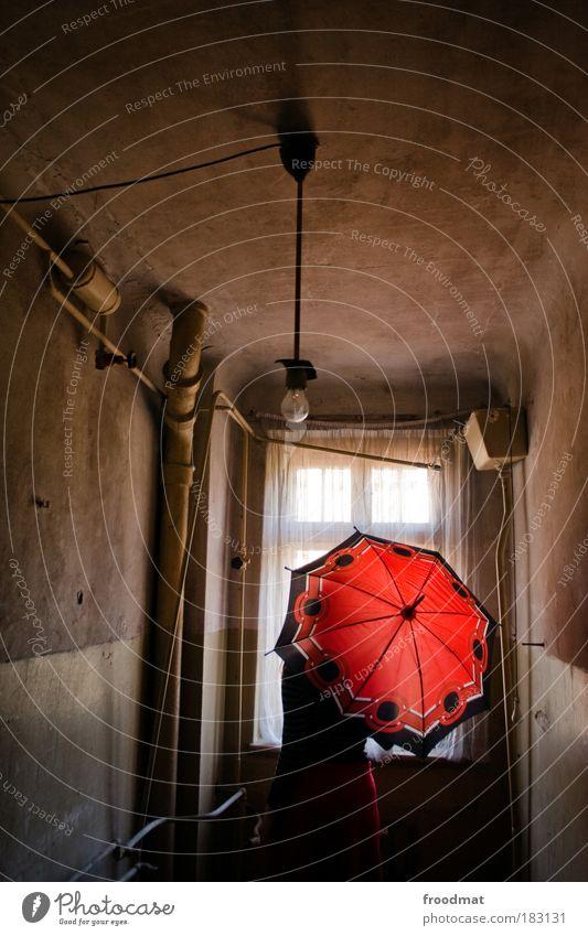 red dot Mensch rot Einsamkeit dunkel Fenster träumen Traurigkeit dreckig Armut Rücken retro Bad Vergänglichkeit Regenschirm Toilette