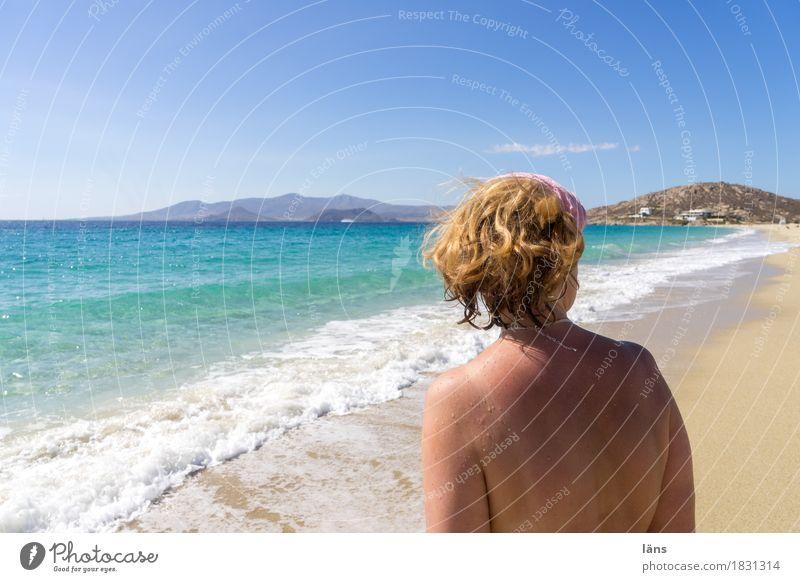 Strandtag Mensch Frau Himmel Ferien & Urlaub & Reisen Sommer Sonne Meer Erholung Erwachsene Leben Küste feminin Kopf Sand Tourismus