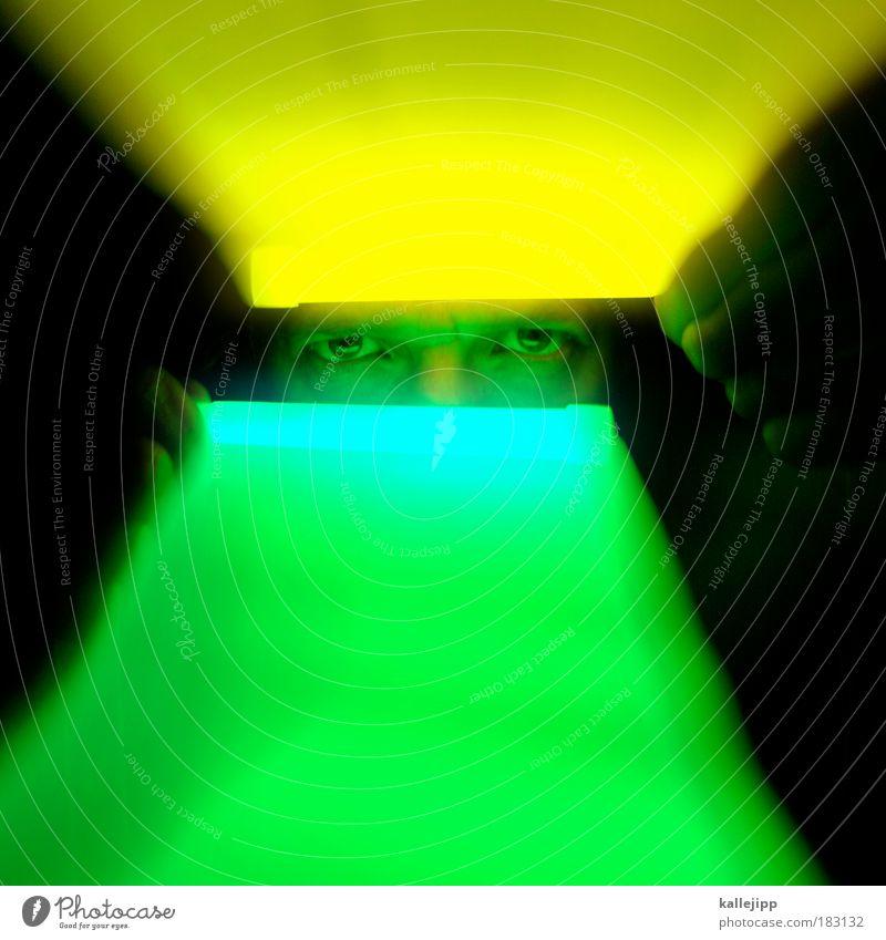 scan Mensch Mann Erwachsene Gesicht Auge Kopf träumen Arbeit & Erwerbstätigkeit maskulin Bewegungsunschärfe Konzentration Wissenschaften Kontrolle Neonlicht