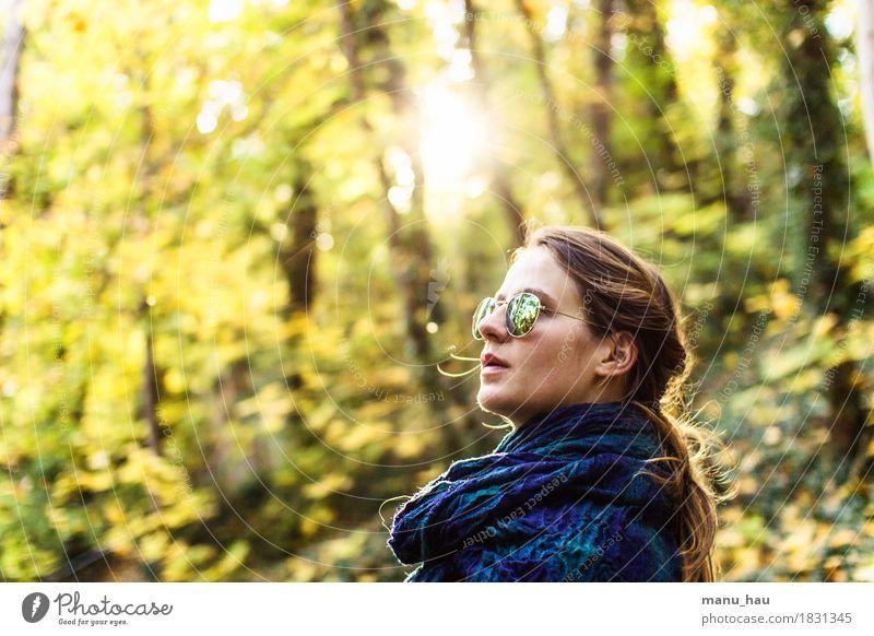 Autumn Day #4 Mensch Frau Natur Jugendliche schön Junge Frau Sonne ruhig Freude Wald 18-30 Jahre Erwachsene Leben Herbst Lifestyle feminin