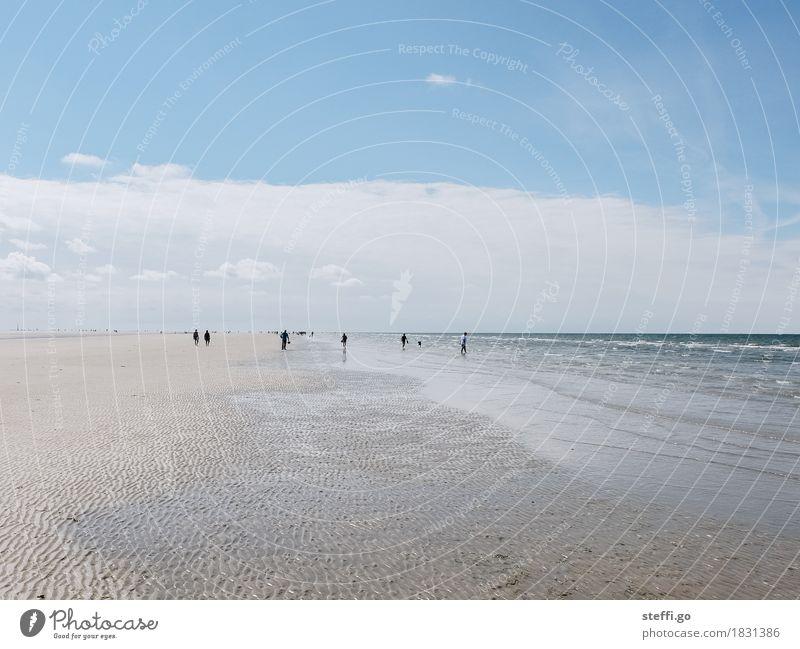 Tag am Meer Mensch Natur Ferien & Urlaub & Reisen Sommer Sonne Meer Landschaft Ferne Strand Umwelt Frühling Küste Spielen Freiheit Menschengruppe Tourismus
