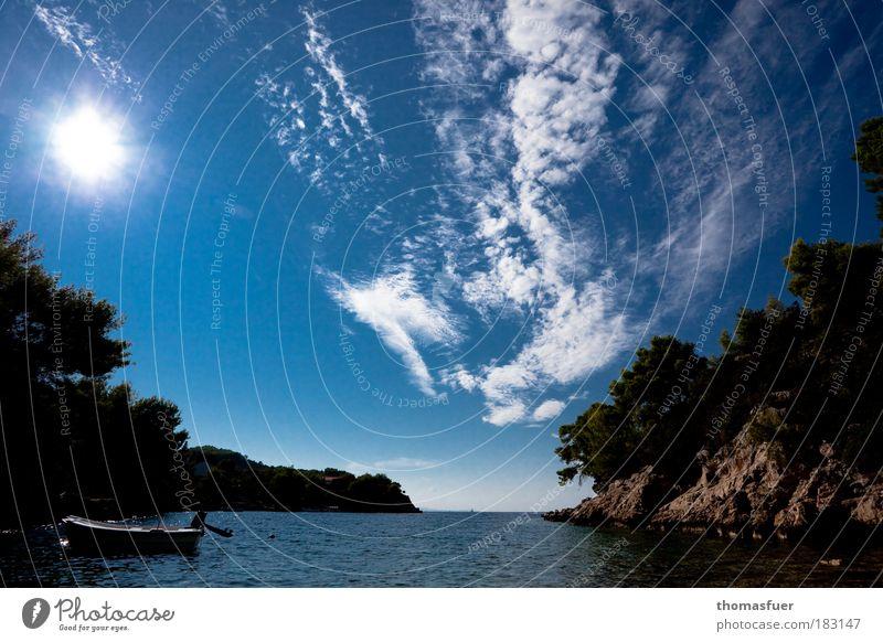 Dynamik ganz still Himmel blau Sonne Sommer Strand Meer Ferien & Urlaub & Reisen Wolken Ferne Farbe Freiheit Glück Küste braun Zufriedenheit hoch