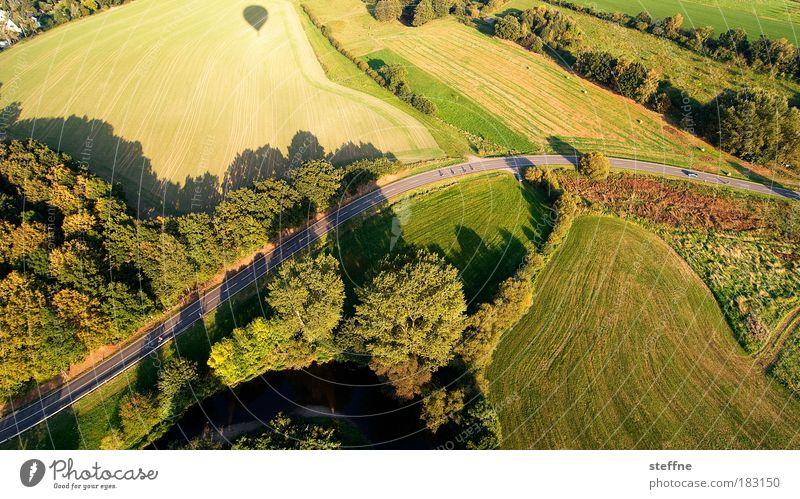 s curve Farbfoto Luftaufnahme Strukturen & Formen Menschenleer Dämmerung Schatten Vogelperspektive Landschaft Schönes Wetter Wiese Feld Wald Ballone fliegen