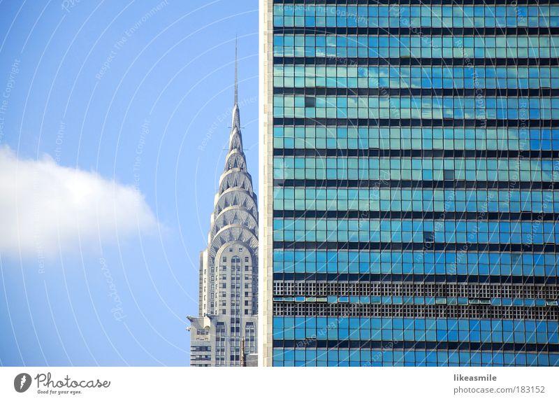Gegensätze Himmel Stadt blau Haus Gebäude Architektur Wohnung Design Hochhaus Amerika Bauwerk New York City Sightseeing Sehenswürdigkeit Städtereise Chrysler Building