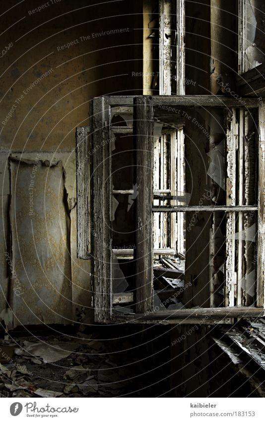 Richtiges Lüften schützt vor Schimmelbildung alt Haus gelb dunkel Fenster Wand Architektur Holz grau Gebäude Mauer dreckig kaputt Vergänglichkeit Bauwerk