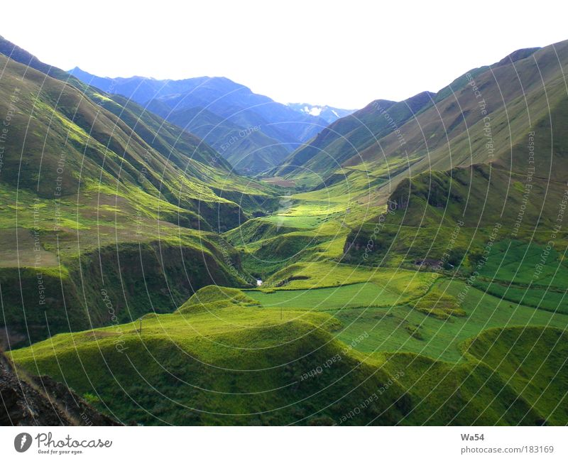 Hoch in den Anden Farbfoto Außenaufnahme ruhig Ferien & Urlaub & Reisen Berge u. Gebirge Landschaft Gras Felsen Blick fantastisch blau grün Tag