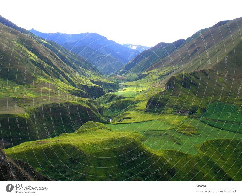 Hoch in den Anden grün blau Ferien & Urlaub & Reisen ruhig Berge u. Gebirge Landschaft Gras Felsen fantastisch