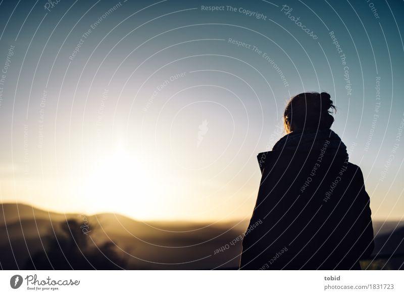 Horizont Mensch Himmel Natur Jugendliche Junge Frau Landschaft Einsamkeit Ferne Wald feminin Freiheit Haare & Frisuren Zufriedenheit Idylle stehen