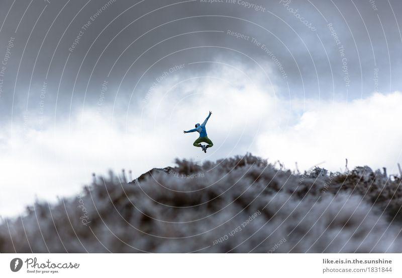 Juhuuu! Freude Wellness Leben Abenteuer Freiheit Berge u. Gebirge wandern Sport Klettern Bergsteigen maskulin androgyn Mann Erwachsene Landschaft Alpen Gipfel