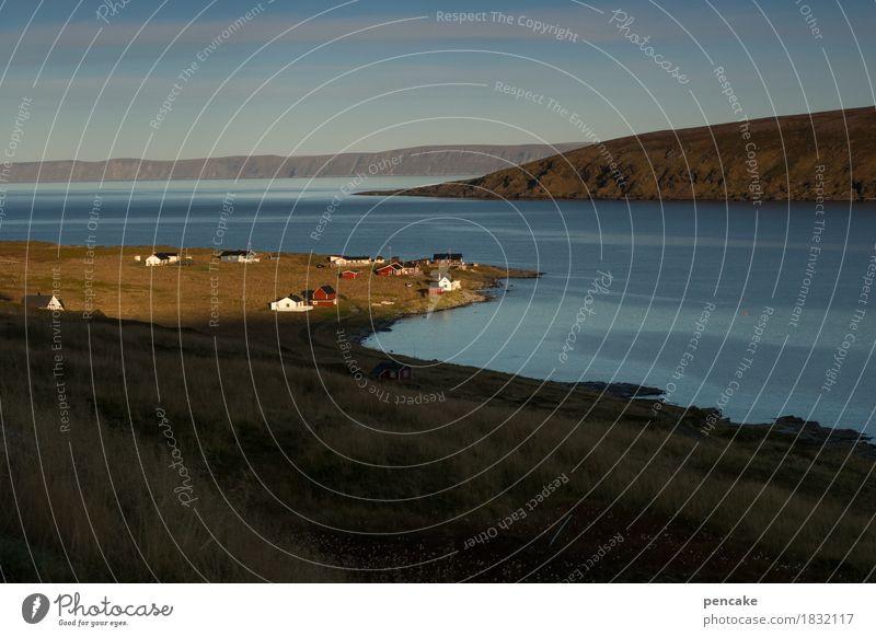 sonnenuhr Himmel Natur Wasser Landschaft Haus Herbst natürlich Erde authentisch Schönes Wetter historisch Urelemente flach Norwegen Fjord Fischerdorf