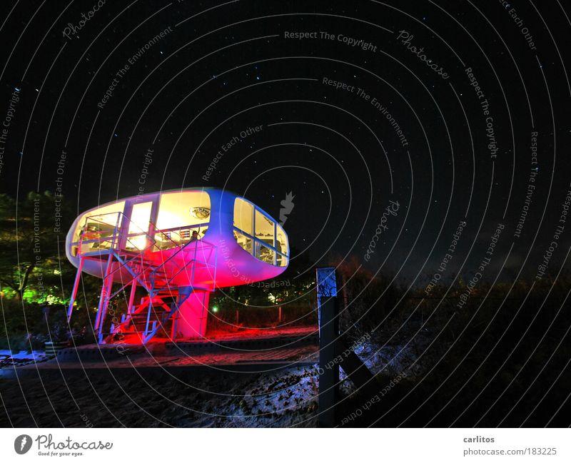 Rettungsstation alt blau rot Strand Farbe Nacht Küste Stern glänzend rosa Design elegant Perspektive Sicherheit modern