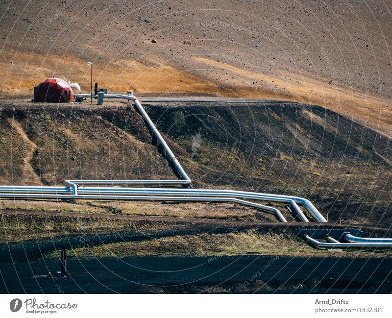 Island - Kraftwerk Tourismus Ausflug Fortschritt Zukunft Energiewirtschaft Erneuerbare Energie Industrie Natur Landschaft Urelemente Hügel Insel Industrieanlage