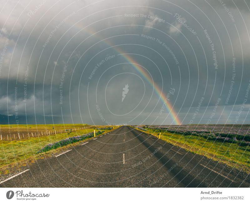 Straße und Regenbogen in Island Himmel Ferien & Urlaub & Reisen schön Landschaft Wolken Ferne dunkel Umwelt Wiese Freiheit Tourismus Verkehr Wetter Feld