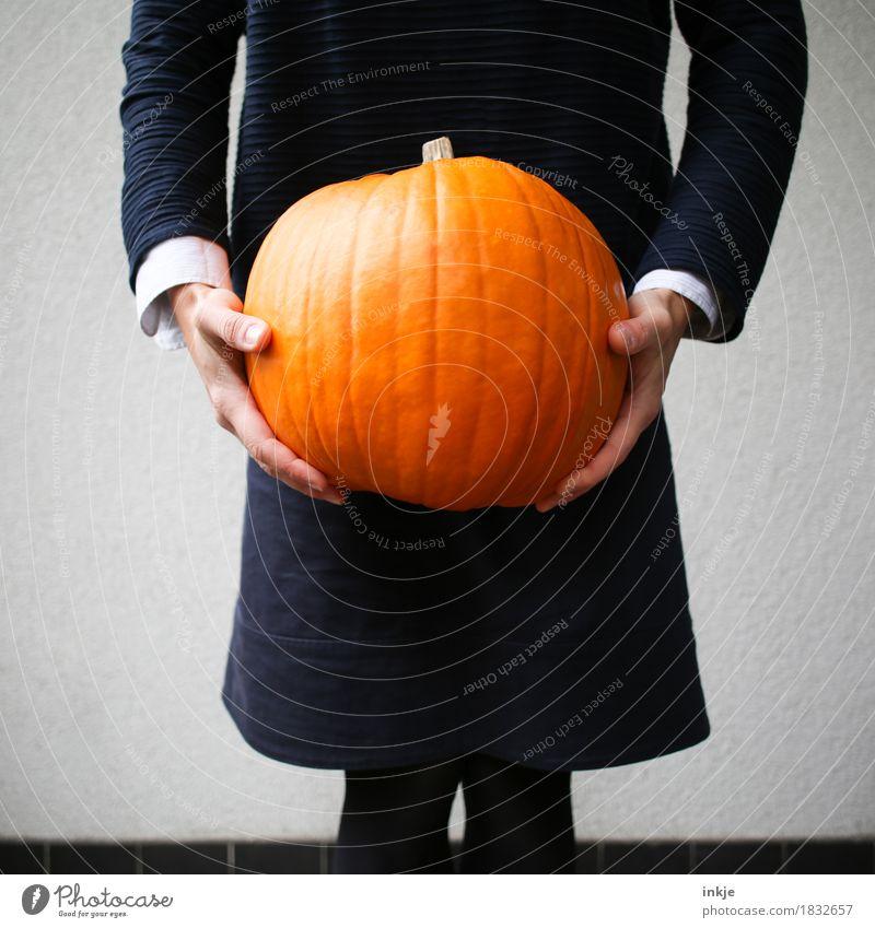 bizarre Zeiten Mensch Lifestyle orange Freizeit & Hobby Körper stehen groß festhalten tragen Halloween schwer Kürbis haltend Kürbiszeit