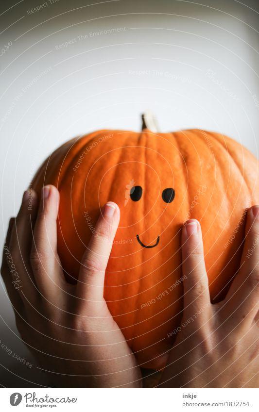 Kürbiskopf Freundlichkeit Lächeln Smiley groß Dickkopf orange festhalten Gesicht Kürbiszeit Halloween niedlich Knopfauge hochhalten lustig