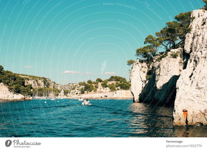 Calanque de Port Miou vue de la mer Natur Ferien & Urlaub & Reisen Sommer schön Baum Meer Landschaft Erholung Umwelt Wärme Wellen Ausflug Idylle Schönes Wetter