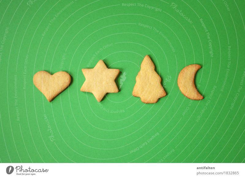 Keksreihe Weihnachten & Advent grün Freude Essen Liebe Feste & Feiern Freizeit & Hobby Ernährung Fröhlichkeit Herz Lebensfreude kaufen Stern (Symbol) Zeichen