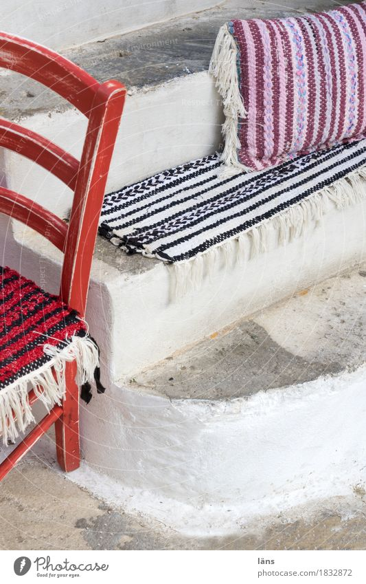Variationen Ferien & Urlaub & Reisen Wege & Pfade Stuhl Sitzgelegenheit Treppe gestreift Kissen Menschenleer