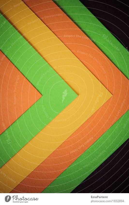 >oggo>gs elegant Stil Design Dekoration & Verzierung Papier Zeichen Linie Pfeil Streifen mehrfarbig gelb grün orange schwarz ästhetisch Farbe Werbung
