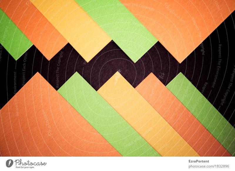 /\/\/\/\/\/\ elegant Stil Design Dekoration & Verzierung Papier Zeichen Schilder & Markierungen Linie ästhetisch eckig grün orange rot schwarz Farbe Werbung