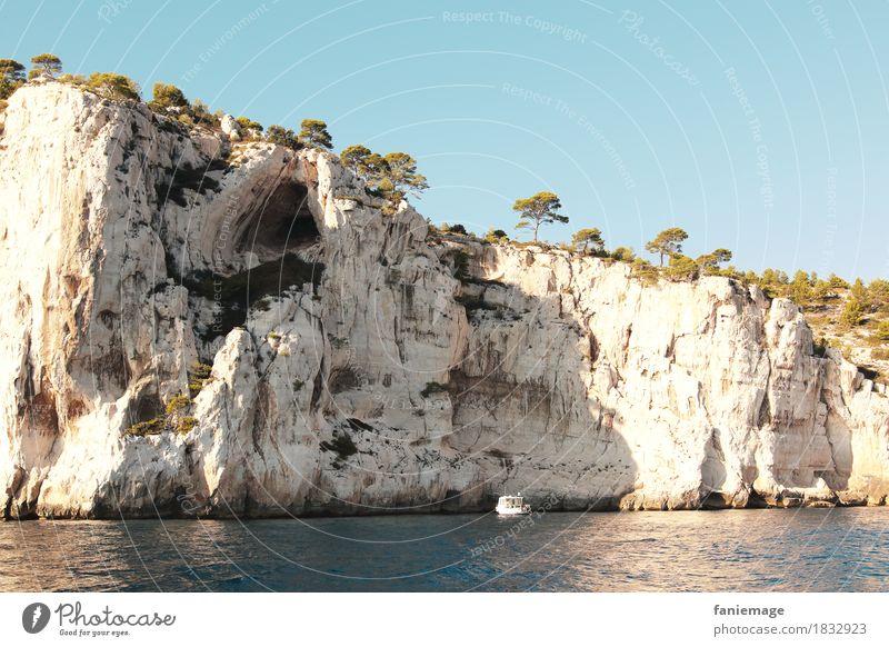 Calcaire Natur Ferien & Urlaub & Reisen Wasser Baum Meer Umwelt Wärme Stein Felsen Wasserfahrzeug Wellen erleuchten fahren Frankreich mediterran Schifffahrt