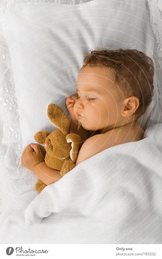Baby K. maskulin Kind Kleinkind Junge 1 Mensch 0-12 Monate 1-3 Jahre brünett kurzhaarig Spielzeug Stofftiere schlafen Umarmen kuschlig Wärme Gefühle