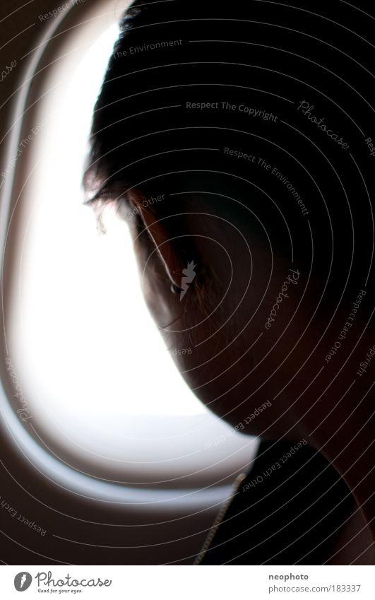 Der Weg ist das Ziel Mensch weiß Ferien & Urlaub & Reisen schwarz Ferne feminin Freiheit Kopf Haare & Frisuren Denken träumen fliegen Ausflug Flugzeug