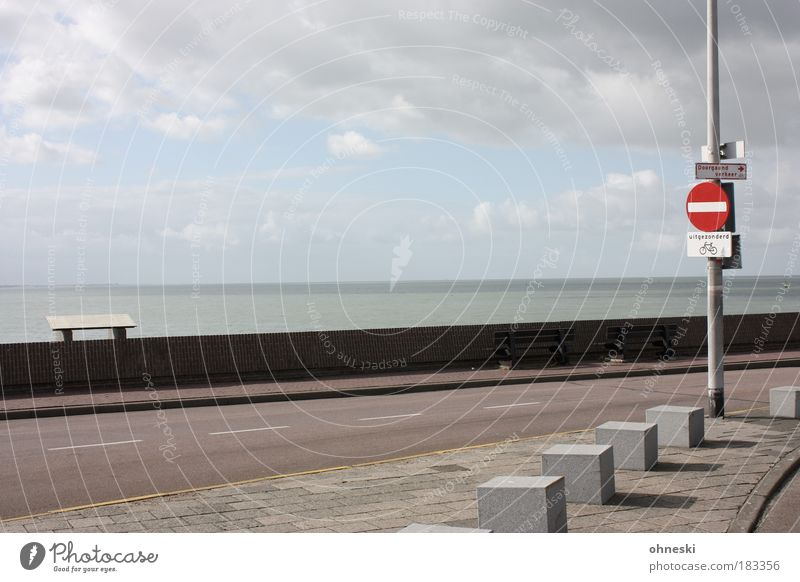 Vlissingen Himmel Wasser Meer Wolken Straße Herbst Wege & Pfade grau Mauer Wetter Schilder & Markierungen Bank Zeichen Nordsee Möbel Verkehrszeichen