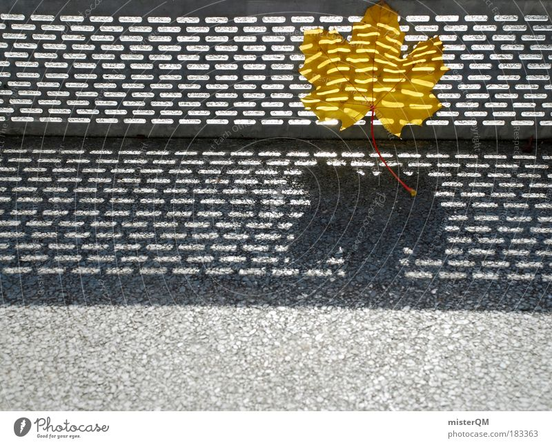 Verflogen. Mensch Natur Blatt Einsamkeit gelb Herbst Metall Kunst gehen Umwelt Beton modern Licht ästhetisch abstrakt Vergänglichkeit