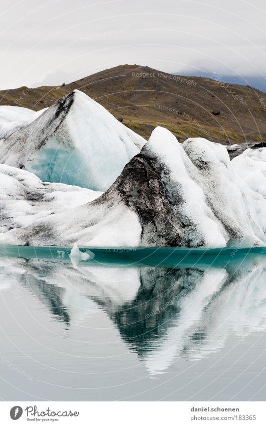 Eis, gespiegelt Textfreiraum oben Textfreiraum unten Umwelt Natur Landschaft Wasser Klima Klimawandel Gletscher Seeufer Fjord Einsamkeit einzigartig kalt