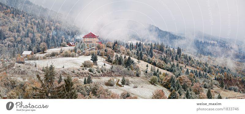 Natur Ferien & Urlaub & Reisen weiß Baum Landschaft Haus Ferne Winter Wald Berge u. Gebirge Umwelt gelb Wiese Herbst natürlich Schnee