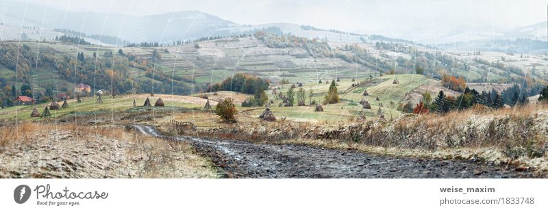 Erster Schnee im Herbst. Schneefall im Bergdorf Ferien & Urlaub & Reisen Tourismus Ausflug Abenteuer Ferne Freiheit Winter Berge u. Gebirge wandern Haus Umwelt