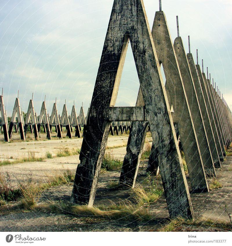 Architecture of fear II alt grau Beton fest Grenze historisch Ruine Säule Pfosten eckig bedeckt Balken Sachsen-Anhalt Wolkenhimmel Grenzgebiet betoniert
