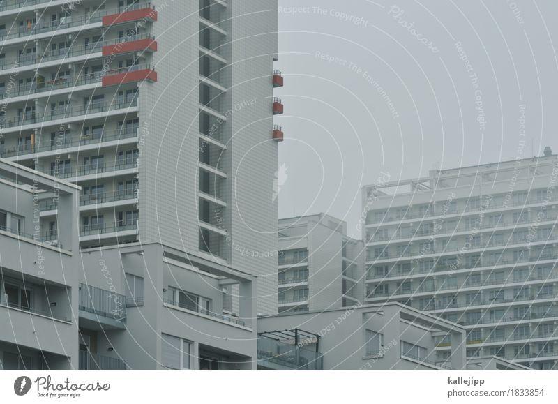 wohnen mit komplex Häusliches Leben Wohnung Haus Herbst Nebel Stadt Hauptstadt Hochhaus Architektur Mauer Wand Fassade Balkon Fenster grau weiß Miete Mieter