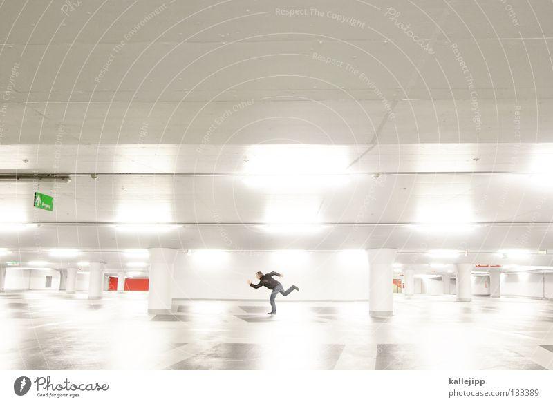 run for cover Mensch Mann Reflexion & Spiegelung Erwachsene Wand Mauer Stil Freizeit & Hobby laufen elegant Schilder & Markierungen maskulin Design Verkehr Zukunft Lifestyle