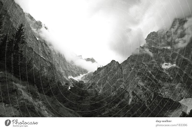 Düstere Zeiten an der Watzmann-Ostwand Schwarzweißfoto Menschenleer Morgen Licht Schatten Kontrast Weitwinkel Klettern Bergsteigen Natur Landschaft Urelemente