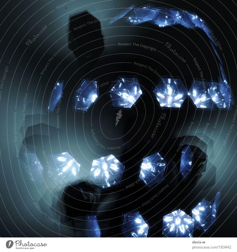 dancing light blau Lampe dunkel Party Stil Bewegung Tanzen Beleuchtung Kunst Blitzlichtaufnahme abstrakt Aktion Licht ästhetisch Show außergewöhnlich