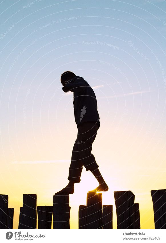Mut Mensch Mann Jugendliche Erwachsene Junger Mann Kraft 18-30 Jahre maskulin Erfolg authentisch ästhetisch Macht Sonnenuntergang einzigartig dünn Mut