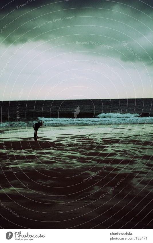 Nordseeherbst Mensch Himmel Natur Wasser Meer Winter Wolken Erwachsene Landschaft Umwelt dunkel Herbst Küste Sand Traurigkeit Stimmung