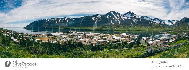 Island - Siglufjörður Himmel Ferien & Urlaub & Reisen Pflanze Sommer schön Meer Landschaft Wolken Ferne Berge u. Gebirge Umwelt Frühling Freiheit Tourismus