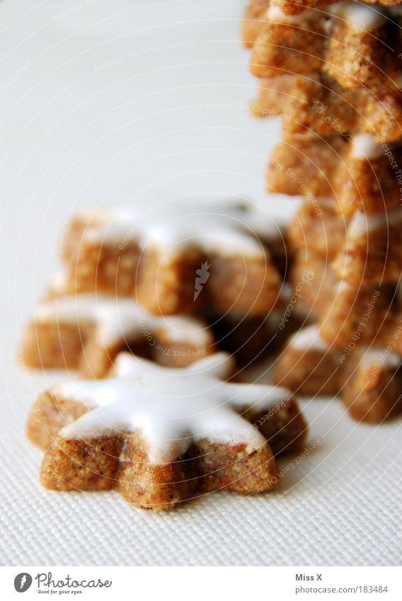 Zimtsterne Weihnachten & Advent Foodfotografie klein Lebensmittel Ernährung süß Stern (Symbol) Makroaufnahme trocken lecker Süßwaren Backwaren Anschnitt Bildausschnitt Teigwaren Plätzchen