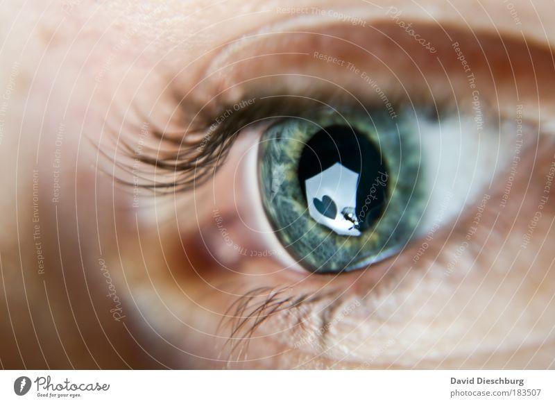 Augenblicke wie diese... Mensch Makroaufnahme Perspektive blau grün Nahaufnahme Herz Symbole & Metaphern beobachten Reflexion & Spiegelung Wimpern Pupille