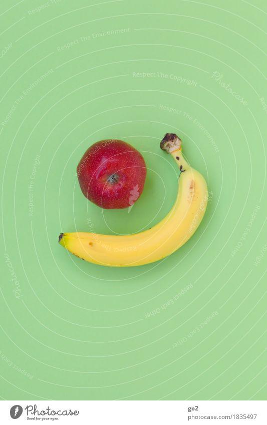 Apfel und Banane grün Gesunde Ernährung rot gelb Leben Gesundheit Lebensmittel Frucht Ernährung lecker Frühstück Apfel Vitamin Banane vitaminreich