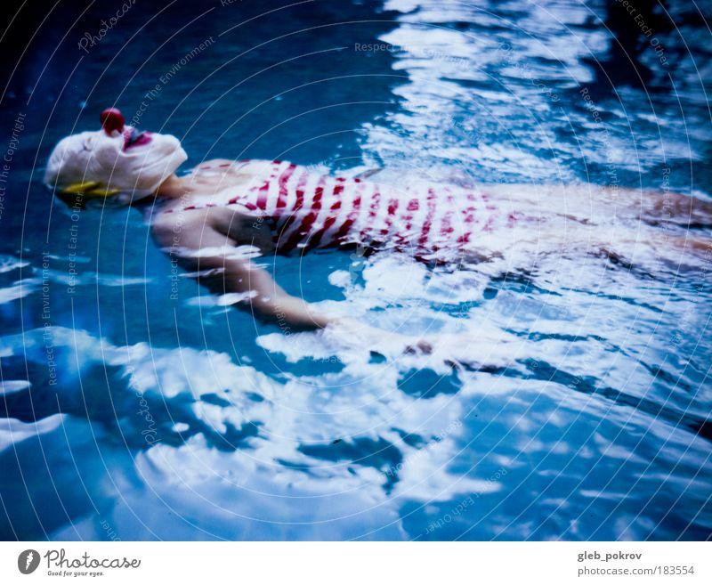 Wasser blau rot Gesicht Leben Kopf Schutz Denken Wellen Schwimmen & Baden warten Haut Mund Nase Wassertropfen Polaroid