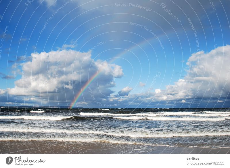 Du kannst nicht alles haben .... blau Wasser Erholung Meer ruhig Wolken Ferne Strand Umwelt Herbst Küste Freiheit Horizont Regen Freizeit & Hobby Wellen